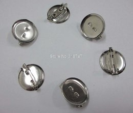 Wholesale Hair Clip Brooch Pin Backings - Wholesale-6pcs 19MM silver Safety Pin jewelry DIY for brooch and hair brooch round Back Base With Clip 079011007