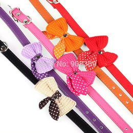 Wholesale Dog Collar Leather Harness - Pet Dog Puppy PU Leather Neck Collar Knitted Bow Bowknot Small bow tie colours,Collar for cats,Size XS S M