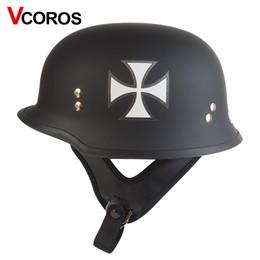 Wholesale Xxl Helmet German - Vcoror Half Open Face German military motorcycle Helmet Harley Moto Motorbike Helmet vintage Vespa CS Army helmet DOT approved