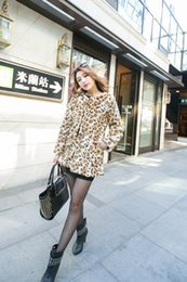 Wholesale Leopard Fur Coat Rabbit - Wholesale-Women Trendy Hairy Shaggy Faux Rabbit Fur Leopard Pattern Jackets Cardigan Coat Outerwear Super Quality!!!