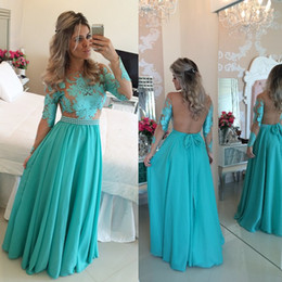 Wholesale Pink Jade Beads - Fashion Jade Chiffon Evening Dresses 2016 Sexy Sheer Illusion Crew Neck Long Sleeves Backless Appliques Bead Sparkly Long Prom Gowns BO7423