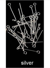 Wholesale Eye Pins For Jewelry - Wholesale-0.7*40mm 200pcs bag eye head pins jewelry findings rhodium gold silver plated eye Pins for earring bracelets necklaces F117C