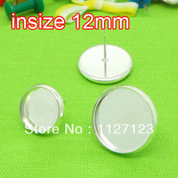 Wholesale Earrings Blank Stud - Wholesale-Silver plated 100pcs 12mm earring cabochon cameo setting earring blanks post with bullet stoppers studs diy findings