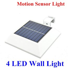 Wholesale Wholesale Security Doors - 4 LED Motion Sensor Light Solar Powered Light Waterproof LED Solar Wall Lamp Security Light for Door, Pathways, Patios, Garden Fence Light
