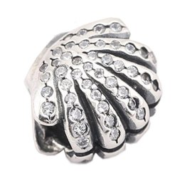 Wholesale Pandora Shell Charms - 100% Sterling Silver Charms 925 Ale Rhinestone Shell European Charms for Pandora Bracelets DIY Beads Accessories