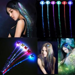 Fibra óptica acender o cabelo on-line-2 estilo Luminosa Luz Acima Do Cabelo LEVOU Flash Hair Girl Braid menina Brilho por fibra óptica Para Festa de Natal do Dia Das Bruxas Luzes Da Noite decoração