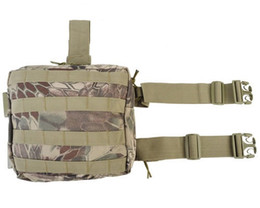 Wholesale Tactical Drop Leg Panel - Rattlesnake Mandrake Airsoft V2 boidae Camouflage Paintball Tactical Drop Panel Utility Magazine leg bag Molle Pouch Bag 3 Colors
