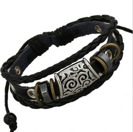 Wholesale Handmade Leather Bracelets Men - Newly Design Handmade Fashion Retro Pierced Ring Infinity Charms For Men Leather Rope Bracelets Jewelry