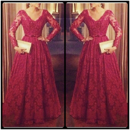 Wholesale Wine Red Elegant Evening Gown - 2016 Abendkleider Elegant Red Wine Lace Evening Dresses With Long Sleeves V Neck Appliques Open Back Women Formal Gowns Robe De Soiree
