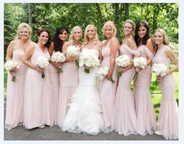 Wholesale Choice Line - 2017 New Chiffon Bridesmaid Dresses Multi Choice Long Mermaid A-line Pink Prom Gowns Floor Length Evening Fashion Cheapest Party Dresses