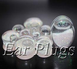 Wholesale Liquid Glitter Plugs - Wholesale transparent acrylic white glitters liquid plug gauges saddle ear plug double flare ear expander mix 10mm-25mm 48pcs lot DSP160