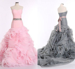 Wholesale Grey Corsets - 2016 Spring Summer Grey Wedding Dresses Real Photos Dropped Waist Pink Bridal Gowns Sweetheart Corset Back Floral Skirt Organza Evening Gown