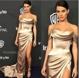 Wholesale 14 W Royal Blue Dress - Ralph Russo Fall Ivory Satin Gown w Deep Side Slit 2016 Sexy Dresses Party Evening Off-shoulder Dubai Arabic Occasion prom Dresses