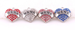 Wholesale Nana Free - 1 inch*1 inch 50pcs a lot free shipping rhodium plated zinc studded with sparkling crystals Nana Crystal Heart Pendant