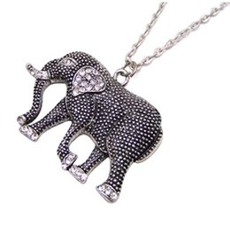 Wholesale Elephants Pendants - Crystal auger elephants necklace jewelry for woman design high quality jewelry free shipping