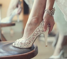 Wholesale Lace Peep Toe Bridal Shoes - Bling Bling Flowers Wedding Shoes Pretty Stunning Heeled Bridal Dress Shoes Peep Toe White Lace Crystal Hand-crafted Prom Pumps
