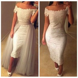Wholesale Short Overlay Dress Prom - Ivory Scoop Sheath Lace Appliques Evening Dresses Two Pieces Tulle Overlay Custom Online 2016 Tea Length Formal Women Prom Wear African