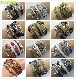 Wholesale Handcuff Leather Bracelet - 2015 155 styles charms Multilayer Leather Bracelets anchor infinity bracelets Antique Cross Love Heart Owl genuine handcuffs bracelets