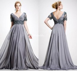 Wholesale Elie Saab Bride Dresses - Elie Saab Sexy Backless 2017 V Neck Mother Dresses Short Sleeves with Pleats Lace Applique Empire Chiffon Floor Length Mother Of Bride Dress