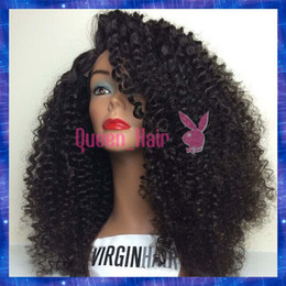Wholesale Indian French Curl Human Hair - 6A virgin Hair Kinky Curl Lace Front Wig Glueless Full Lace Human Hair Wigs With Silk Top Remy Peruvian Hair
