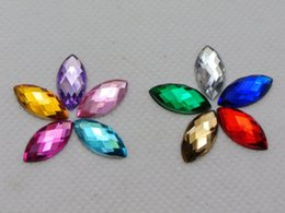 Wholesale Acrylic Rhinestones Flatback - 200 Mixed Color Acrylic Flatback Faceted Horse Eye Rhinestone Gems 7X15mm No Hole