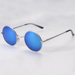 Wholesale Vintage Hippie Sunglasses - Wholesale-2016 Hippie Man Retro HD Sunglasses Round Lens Metallic Reflective Mirror Vintage Glasses Eyewear