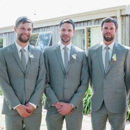 Wholesale Charcoal Wedding Suits - Slim Fit Custom Made Groom Tuxedos Peak Lapel Best man Suit Charcoal Grey Groomsman Bridegroom Wedding Prom Suits (Jacket+Pants+Tie+Vest)