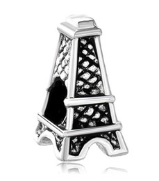 Wholesale Pandora Eiffel - Eiffel Tower Shaped Lucky European Charm Spacer Fit Pandora Bracelet Wholesale Large Hole Metal Slide charm