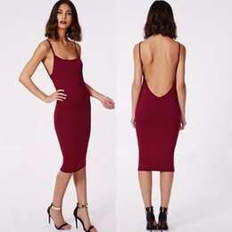 Wholesale Strap Tight Skirts - 2015 Summer New Sexy Halter Straps Tight Package Hip Skirt Bottoming Slim Skirt Dress Cocktail Dresses Prom Dresses Red Black Red Wine