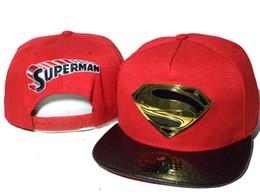 Superman chapéu preto on-line-Superman vermelho dos desenhos animados marvel caps couro preto brim ajustável snapback bonés snapback chapéus para esportes da mulher hip pop cap homens chapéus de sol DDMY