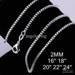 "Wholesale Silver Box Chain 2mm - Popular Jewelry 925 Sterling Silver Necklace 2mm Box Chain Necklace 16"" 18"" 20"" 22"" 24"" 100pcs"