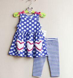 Wholesale Girls Bow Leggings Blue - 2016 Spring Summer Baby Toddler Girl Polkar dot Dress with bow & stripes leggings set Blue dress leggings 2 Piece set 6M-3T