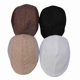 Wholesale Ascot Caps - Wholesale-1pc Solid Color Man Ascot Hat Cotton Material Mesh Design Sun Beach Peaked Cap 4 Colors Free Shipping DWJ