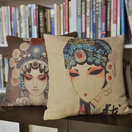 """Wholesale Sofa Cushion Covers Set - Beijing Opera Chinese Style, Set of 2pcs Creative Cotton Linen Printed Sofa Cushion Cover Throw Pillow Case, Home Decor 18"""""""