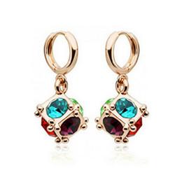 Wholesale Crystal Window Jewelry - Square Love Window Earrings Love Magic Stud Earrings For Women Best Gift Fashion Crystal Earrings Jewelry 8022