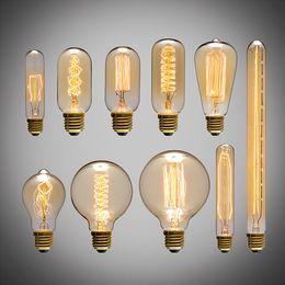 Wholesale Industry Energy Saving - 2016 New arrival American vintage pendant lights copper lamp tungsten light bulb industry pendant lamps Golden Chrome E27 W-filament bulb