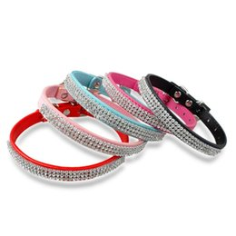 Wholesale Diamante Collars - 2016 20pcs Hot selling Rhinestone diamante dog collars fashion PU leather jewelry Pet collar Puppy Necklace 4 Sizes 5 Colors