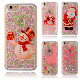 Wholesale Wholesale Christmas Phone Cases - Christmas Phone Case for Iphone X Glitter Love Quicksand Liquid Phone Back cover For Iphone X 8 8plus