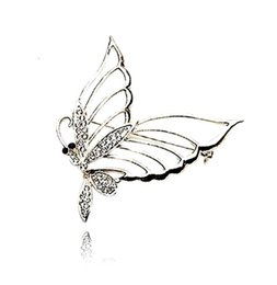 Wholesale Beautiful Butterfly Brooch - Free Shipping ! Top Jewelry Wholesale Rhodium Silver Plated Clear Rhinestone Crystal Beautiful Butterfly Brooches and Pins