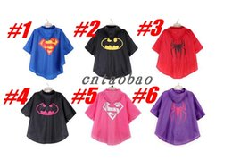 Wholesale White Waterproof Coat - MOQ=20pcs superman batman spiderman superhero kids waterproof Rain Coat children Raincoat Rainwear 6 colors options with bags