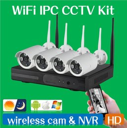 Wholesale Powerful Bullets - WIFI CCTV System 4ch Powerful Wireless NVR IP Camera IR-CUT Bullet CCTV Camera Home Security System Surveillance Kits