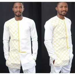 Wholesale Dress Way - African Dresses Rushed Hot Style Restoring Ancient Ways Of Grid Printing Round Neck Long Sleeve Shirt Men's Clothing