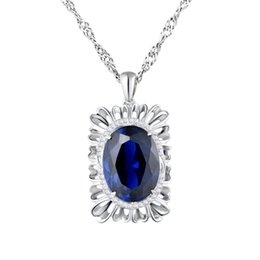 Wholesale Popular Female Model - Manufacturers supply wholesale S925 sterling silver fashion simple popular blue zircon pendant female models genuine free shipping