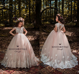 Wholesale Tulle Wedding Gowns Color Belt - Princess Light Pink Ball Gown Tulle Flower Girl Dresses 2018 Cap Sleeves Lace Appliqued Crystals Beading Belt Girls Pageant Gowns