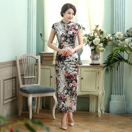 Wholesale Ready Wear Cheongsam - Free Shipping Chinese traditional dress Vintage qipao Velvet Chinese Dress Floral Painted Blend Silk Cheong-sam Long Cheongsam Dress T0004A
