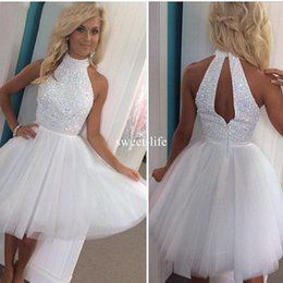 Wholesale Keyhole Cocktail Dresses - Luxury White Beaded Short Keyhole Back Prom Dresses 2016 A Line High Neck Plus Size Homecoming Party Dresses Formal Evening cocktail Dresses
