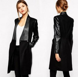 Wholesale Womens Long Black Leather Coats - Womens 2017 Autumn and winter PU leather stitching long section woolen coat jacket women Princess Kate Free shipping