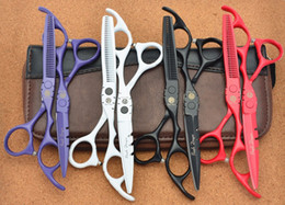 Wholesale Japan Hair Scissors Brand - Wholesale- 511# Brand Purple Dragon 5.5'' Hairdressing Scissors 440C Black Red White Barber Cutting Scissors Thinning Shears Hair Scissors