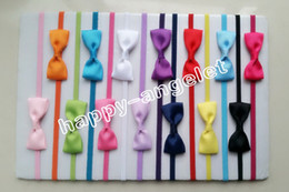 "Wholesale Thin Elastic Baby Headbands - 100pcs baby ribbon hair bow with mini Thin Elastic headbands girl hair accessorie 2"" bow flower hair band slender rubber hair ties PJ5277"