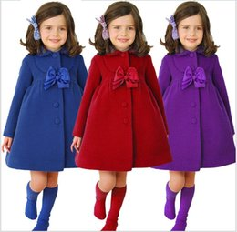Wholesale Girls Trench Coat Princess - Fashion Girls Autumn Winter Princess Long Coat Children Wool Blended Outwear Jackets Coats Trench Cardigan Bow Windbreaker Kids Clothing